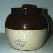 Vintage Stoneware Baked Bean Pot w/ Lid & Handle  #2 Crown Emblem USA