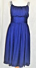 ALMOST FAMOUS SIZE 8 Stunning Silk Mix Empire Line Dress Purple Gems Lined *VGC
