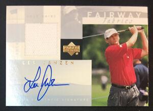 2002 Upper Deck Lee Janzen Fairway Fabrics Jersey Autograph Golf Card