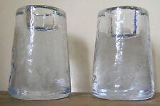 2 HABITAT GLASS CANDLESTICKS..RIPPLE/DIMPLE EFFECT..8cm