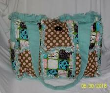 ~~~ Blue Pink Brown Polka Dot Owl Rag Quilted Diaper Bag Tote Purse Cute ~~~