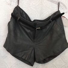 Joie Shorts Charcoal Lamb Leather Belted Nwt Size 8