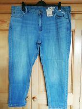 M&S Ladies (Light Indigo) Blue Mid Rise Boyfriend Jeans (with Linen), size 20 R