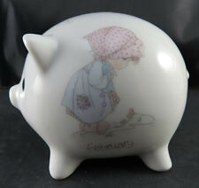 Precious Moments Piggy Bank February Enesco Collection 1988 Samuel J Butcher