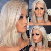 HN- Short Bob Straight Synthetic Hair Wig Ombre Blonde Bob Side Part Full Short