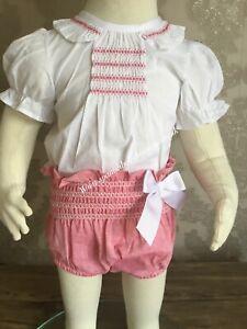 Spanish smocked baby girls outfit set various sizes romany Calamaro