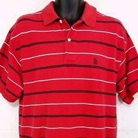 Nautica Mens Polo Golf Shirt Vintage 90s Streetwear Red Striped Size Medium