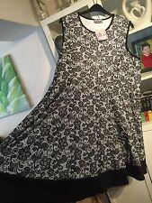 "K58 Praslin@New Look Plus Sz 26 Black&White Floral Lace 41""Long Dress NWT"