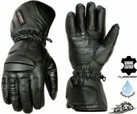 MENS WINTER THERMAL WATERPROOF REAL LEATHER PADDED  MOTORBIKE MOTORCYCLE GLOVES