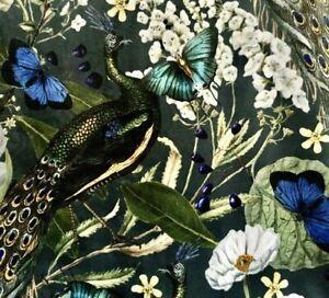 Peacock Butterflies Birds Botanical Greenery Italian Velvet Luxury Sold by Meter