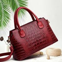 Womens PU Crocodile Embossed Leather Handbag Satchel Tote Shoulder Bag Crossbody