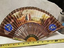 Antique Mother of Pearl Hand Fan Wood and Paper Expandable