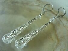 Flötenkappe Ohrringe mit klaren Bergkristall Crack Kugel Ohrhaken Brisuren