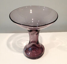 Blenko Glass Vase/Candle Holder 5919 in Lilac By Wayne Husted w Sandblasted Mark