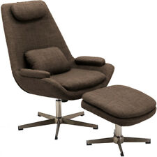 Hanover Hlc0201 Westin Mid-Century Modern Scoop Lounge Chair and Ottoman in Choc
