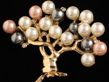 PEARL EASTER BLOWING BUDDING CHERRY BLOSSOM WILLOW TREE PIN BROOCH JEWELRY 3.25""