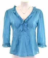 BANANA REPUBLIC Womens Shirt Blouse 3/4 Sleeve US 8 Medium Blue Cotton  EQ18