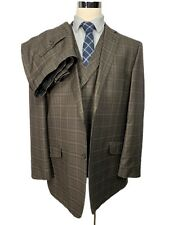 Statements Mens Brown Plaid Wool 3 Piece Suit 48L Jacket 40/30 Pants
