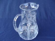 American Brilliant Era Cut Glass Large Pitcher Carafe. Various Cuts Design