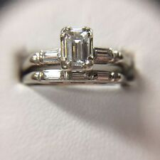 14 kt White Gold Vintage Emerald Cut Diamond Engagement Ring. .40ct