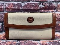 Vintage DOONEY & BOURKE  CREAM /BROWN Pebbled Leather Trifold WALLET