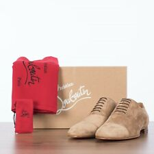 CHRISTIAN LOUBOUTIN 850$ Greggo Oxford Shoes In Fennec Brown Suede