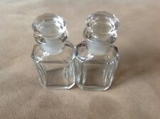 Two Matching Small Antique Faceted Glass Perfume Scent Bottles W/Stoppers