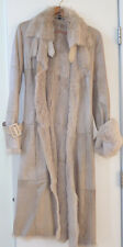 BEBE Heather Tint Pearlized Rabbit Fur Coat Belted Sz. M