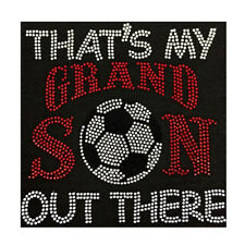 Soccer Thats My Grandson Out There Bling Fashion Ladies Rhinestone T-shirts