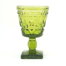 Vintage Indiana Glass Olive Green Wine Goblet Park Lane Pattern Colony Footed