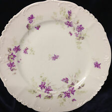 "HABSBURG CHINA AUSTRIA DINNER PLATE 9 5/8"" VIOLETS PURPLE FLOWERS"
