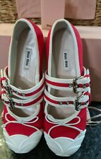 MIU MIU Red & White Flat Double Straps Cap Toe Ballet Sneakers Used Once w Box