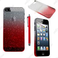 Housse Etui Coque Rigide Motif Gouttelettes Rouge Apple iPhone SE 5S 5 + Stylet