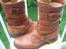 Women's Frye Brown Leather 8 B Double buckle Boots Great design EXCELLENT!