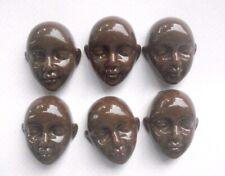 6 Dolls Faces Cabochons Dark Brown Plastic
