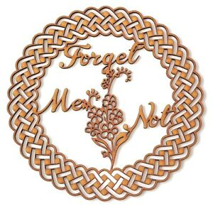 Dementia awareness MDF plaque - Forget Me Not in Celtic ornamental round frame