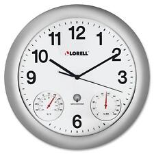 "Lorell Analog Temperature/Humidity Wall Clock, 12"", Silver 61000"