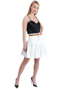RRP €415 ZIMMERMANN Denim Flare Skirt Size 0 / XS Leather Belt Gathered Unlined