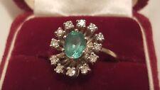 BEAUTIFUL ANTIQUE 14K GENUINE  GREEN EMERALD  DIAMOND  RING