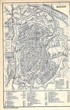 Danzig um 1885 historische alte Landkarte Stadtplan map