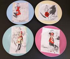 Rosanna Entertaining Women Set of 4 Salad Plates Dishes Retro