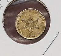 1852 Three 3¢ Cent Silver Piece Trime Strong AU   E42
