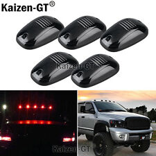 (5) Smoked Lens Cab Roof Marker Running Lamps RED LED Lights For Truck 4x4