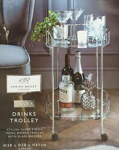 Luxury Silver Drinks Trolley With Glass Shelves Mini Bar Cocktail Drink Table