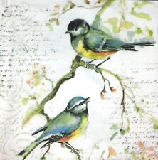 3 x Single Paper Napkins For Decoupage Craft Tissue Titmouse Bird On Branch M394