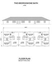 Two bedroom One bath triplex Apartment 840 sq ft per unit plan