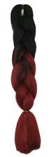 Braids schwarz & rot (weinrot/burgundy) zweifarbiges synthetisches Flechthaar  .
