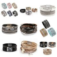 Fashion Women Multilayer Leather Rhinestone Crystal Beads Wrap Charm Bracelet