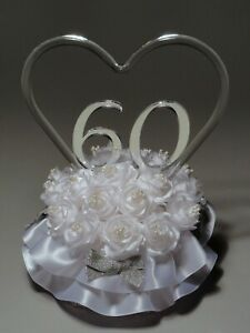"""""""Remembering The Years"""" 60th Wedding Anniversary Cake Topper 865-60 HANDCRAFTED"""