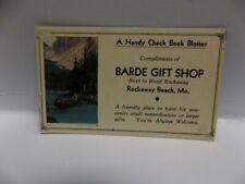 Vintage Ink Blotter For Check Book~Barde Gift Shop~Rockaway Beach, Mo.